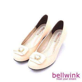 【bellwink】B8908WE日系方形金屬朵結圓頭低跟鞋-白色
