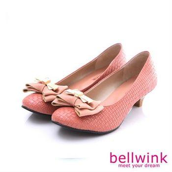 【bellwink】B8907OE典雅氣質金屬朵結編織低跟鞋-橘色