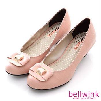 【bellwink】B8908PK日系方形金屬朵結圓頭低跟鞋-粉色