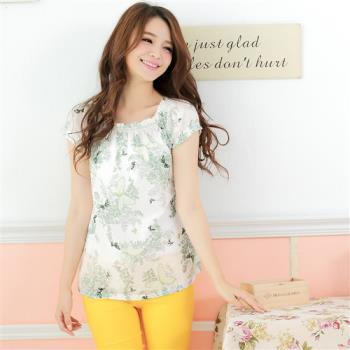 Wonderland ST1201蝶舞春風100%純棉上衣(綠)