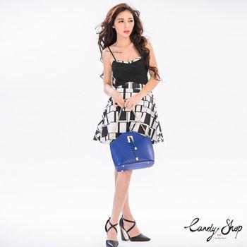 Candy小舖 細肩撞色繃帶傘狀短洋裝(預購+現貨) 3 色選