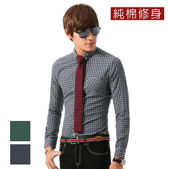 L AME CHIC 純棉修身窄版細小格紋長袖襯衫(現貨-綠)