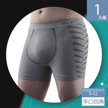 三合豐 ELF, 男性竹炭+銀纖維機能美型四角平口內褲(MIT 灰色)