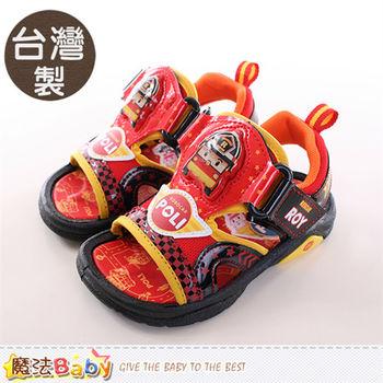 魔法Baby 男童涼鞋 台灣製POLI正版閃燈運動涼鞋~sa61102
