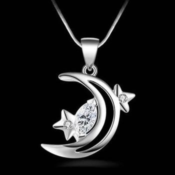 【米蘭精品】925純銀項鍊吊墜月亮造型