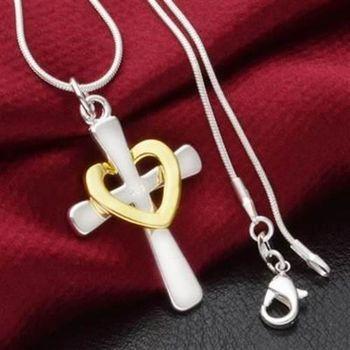 【米蘭精品】925純銀項鍊吊墜時尚十字心型風格