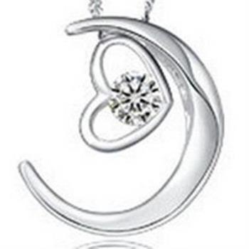 【米蘭精品】925純銀項鍊鑲鑽吊墜愛心月亮造型美艷吸睛