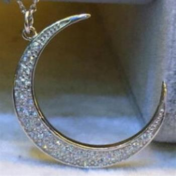 【米蘭精品】925純銀項鍊鑲鑽吊墜月亮造型可愛