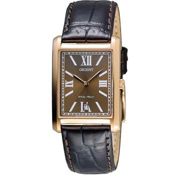 ORIENT 東方典雅方形時尚錶 FUNEL001T 咖啡色