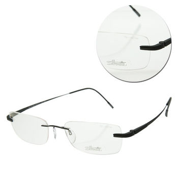 【Silhouette 詩樂】斯文無框長方灰綠光學眼鏡(7722-41-6052)