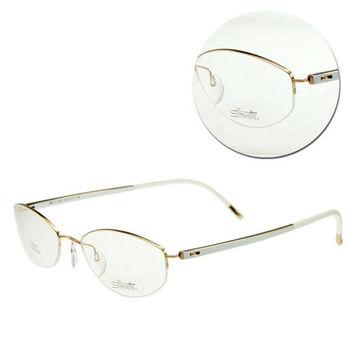 【Silhouette 詩樂】斯文橢圓半框白色光學眼鏡(4267-21-6051)