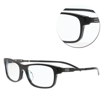 【ic!berlin】德國薄鋼長方黑色光學眼鏡(Manuel n.-Black)