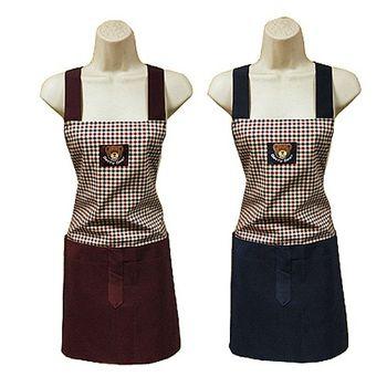 小方格接布兩口袋圍裙F569-藍紅二入任組