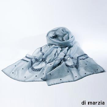 di marzia 真絲羊毛縫珠圍巾(經典灰)