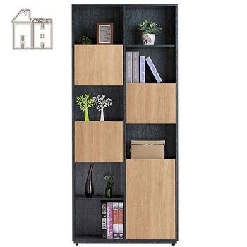 【AT HOME】布拉格2.7尺橡木紋四門書櫃-右