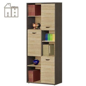 【AT HOME】瑪莎2.7尺橡木紋三門書櫃