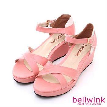 【bellwink】B8926PK日系皮革條交錯踝扣厚底涼鞋-粉色