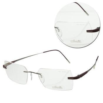 【Silhouette 詩樂】純鈦無框方形棕色紅光學眼鏡(7724-61-6055)