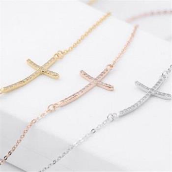 【米蘭精品】925純銀項鍊鑲鑽吊墜十字架造型獨特氣質