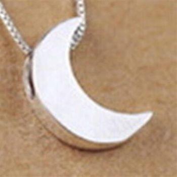 【米蘭精品】925純銀項鍊吊墜月亮造型氣質