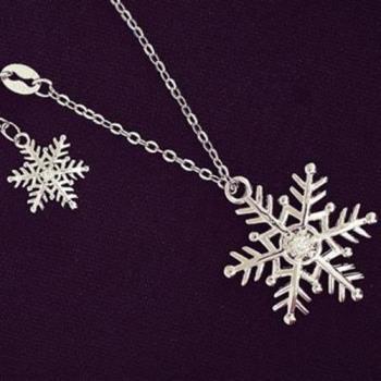 【米蘭精品】925純銀項鍊鑲鑽吊墜雪花造型精緻唯美