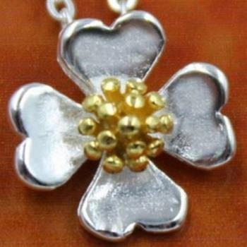 【米蘭精品】925純銀項鍊吊墜四葉草太陽花造型唯美