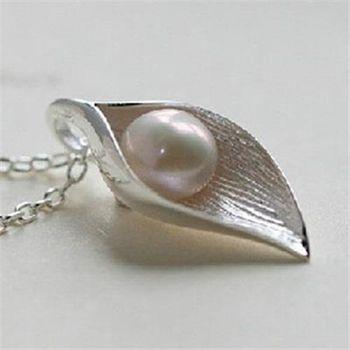 【米蘭精品】925純銀項鍊天然珍珠銀葉托珍珠造型優雅