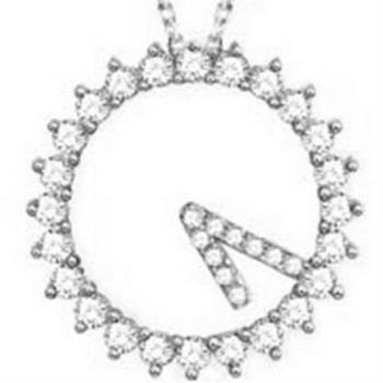 【米蘭精品】925純銀項鍊鑲鑽吊墜時鐘造型情人節必備