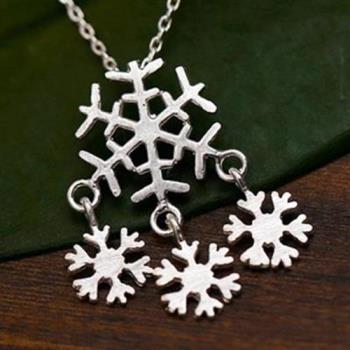 【米蘭精品】925純銀項鍊吊墜聖誕雪花造型獨特韓國