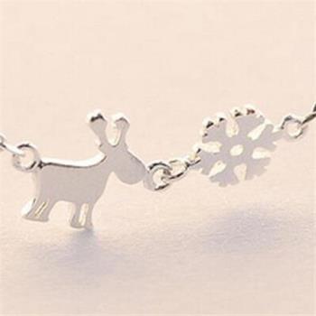 【米蘭精品】925純銀項鍊吊墜雪花小鹿造型獨特