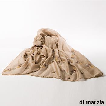 di marzia真絲羊毛縫珠圍巾(貴氣金)