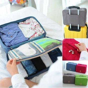 【Bunny】手提多隔層衣物防水行李箱收納袋(L 號)