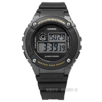 CASIO / W-216H-1B / 卡西歐復古生活鬧鈴橡膠腕錶 黑色 42mm