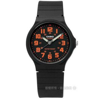 CASIO / MQ-71-4B / 卡西歐休閒百搭橡膠腕錶 橘x黑 33mm