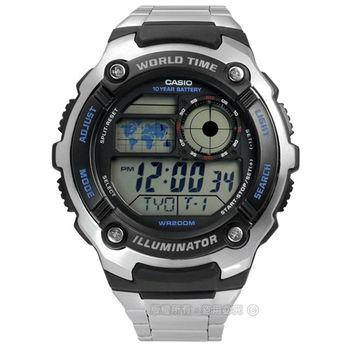 CASIO / AE-2100WD-1A / 卡西歐世界旅遊冒險家電子不鏽鋼腕錶 黑x銀 46mm