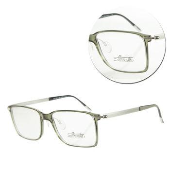 【Silhouette 詩樂】SPX輕型方框綠色復古光學眼鏡(SPX2879-01-6050)