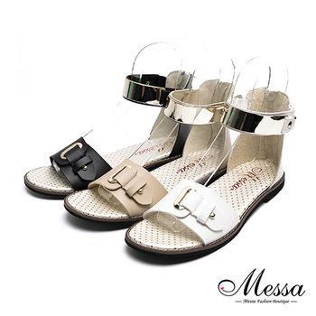 【Messa米莎專櫃女鞋】MIT獨特自在一字金屬繫帶內真皮平底涼鞋-三色-型(網)