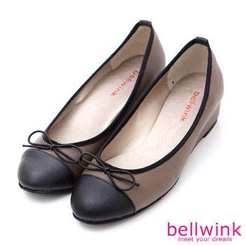 【bellwink】B9002CE甜美色塊朵結平底娃娃鞋-棕色