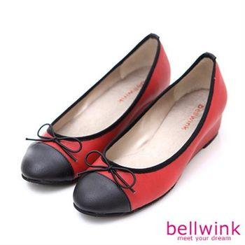 【bellwink】B9002RD甜美色塊朵結平底娃娃鞋-紅色