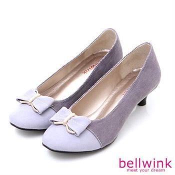 【bellwink】B9001PE日系拼接色朵結低跟鞋-紫色
