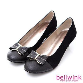【bellwink】B9001BK日系拼接色朵結低跟鞋-黑色