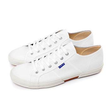 FIVE UP(男) 簡約舒適休閒綁帶帆布鞋-白