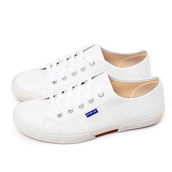 FIVE UP(女) 簡約質感休閒帆布鞋-白