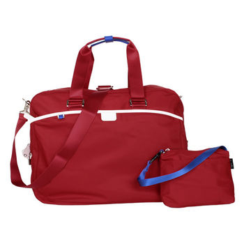 agnes b. 大旅行袋紅藍白邊(附小袋/附鎖/附太空人吊飾/盒)