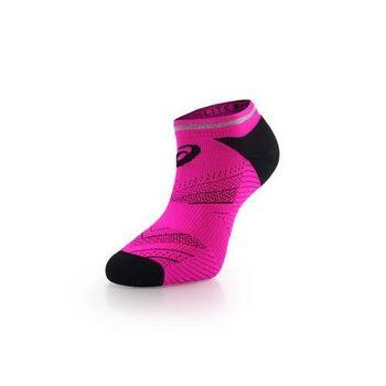 【ASICS】男反光慢跑襪子-短襪 踝襪 路跑 鐵人三項 亞瑟士 桃紅黑
