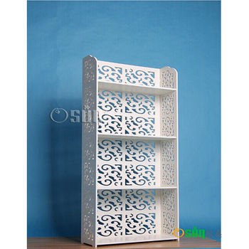 【Osun】DIY木塑板置物架 歐式白色雕花四層經典款(CE-178_12060)