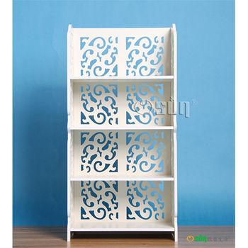 【Osun】DIY木塑板白色雕花四層櫃(CE-178-8040)