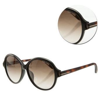 【TOM FORD】復古圓框茶色琥珀太陽眼鏡(Milena-TF9343-05B)