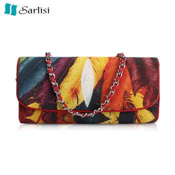 【Sarlisi】繽紛羽毛珍珠魚真皮包(彩色)