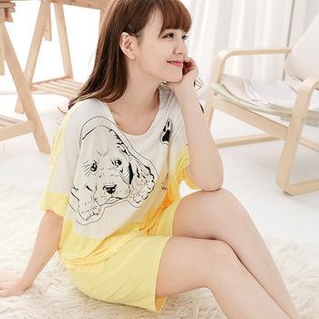 Wonderland ST5.3小狗底迪牛奶絲居家衣褲組(黃)